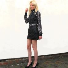 Satin quilted mini skirt